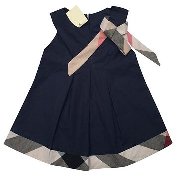 New 2015 baby dress casual kids clothes fashion bow baby clothing summer style dresses cotton child outfits plaid costumes