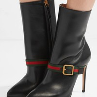 GUCCI Sylvie grosgrain-trimmed leather ankle boots