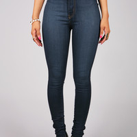 Indigo High Waist Skinnys | Dark Denim at Pink Ice