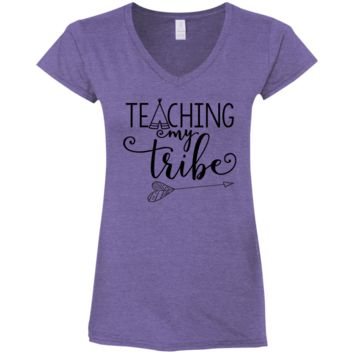 Teaching My Tribe Ladies' Fitted Softstyle 4.5 oz V-Neck T-Shirt