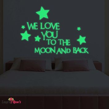 "3D Luminous Wall Stickers Letter ""We Love You To The Moon And Back"" Stars Glow In The Dark Kids Bedroom  Home Decor"