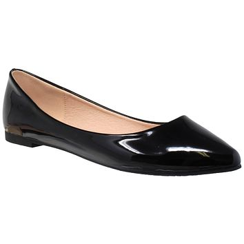 33b7dba7b960 Womens Ballet Flats Patent Leather Pointed Toe Slip On Closed To
