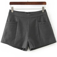Grey Striped Pocket Shorts