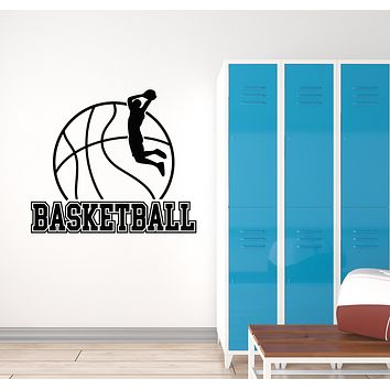 Vinyl Wall Decal Ball Player Game Sport Basketball Words Jumping Stickers Mural (g1340)
