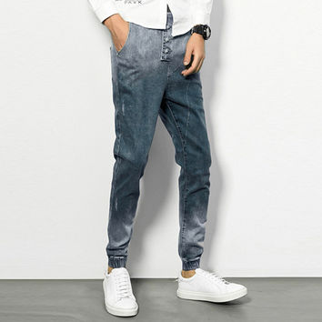Skinny Denim Cuffed Joggers with Button Fly