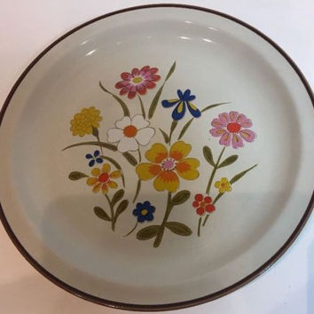 Spring Flower By Grace Multi-Color Flowers Oven Proof Stoneware Dinner Plate