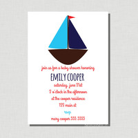 Boat - Nautical DIY Printable Invitation - Baby's or Toddler's birthday, Baby Shower Invite
