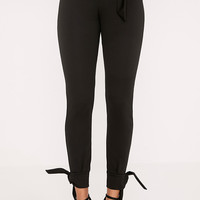 Detta Black Tie Detail Fitted Trousers