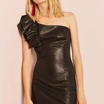 Faux Leather One-Shoulder Dress