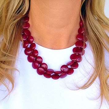 Ruby jade necklace, red necklace, pink, gemstone, circle bead necklace, statement necklace, 2 strand, coin beads