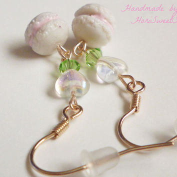Cute Macaron Dangle Earrings, Kawaii Jewelry, Polymer Clay Food Jewelry, Sweet Lolita, Fairy Kei, Hime, Sweet Deco