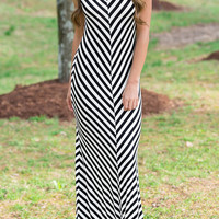 Striped Sleeveless O-Neck Casual Maxi Dress