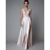 Sexy V-Neck Backless Ivory Chiffon Appliques Lace Floor Length Long Prom Dress 2017 New Arrivals Formal Evening Gowns