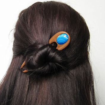 Wooden Hair Fork, hairfork, wood, 2 prong, blue agate, hair stick, hair pin, haarforke, mahogany