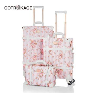 """COTRUNKAGE 13"""" 20"""" 26"""" Pink Floral TSA Travel Trunk Suitcase Ladies Pu Leather 3 Piece Womens Vintage Luggage Sets with Wheels"""