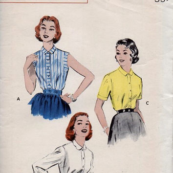 Butterick Retro 50s Sewing Pattern 7022 Womens Blouse High Neck Top Sleeveless Shirt Casual Day Button Front Bust 32 Rockabilly Style