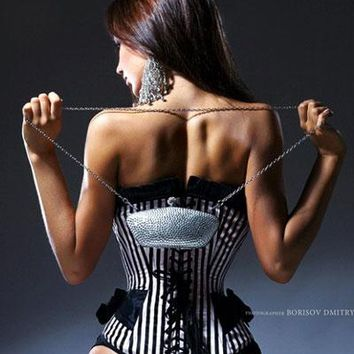 Sexy Black And White Stripe Corset