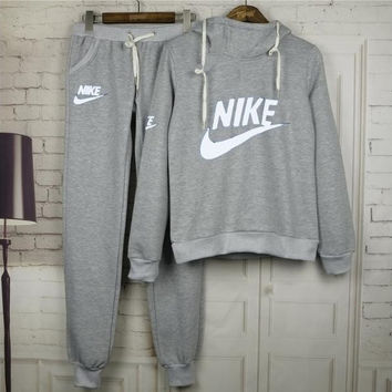 "Women Fashion ""NIKE"" Print Hoodie Top Sweater Pants Sweatpants Set Two-Piece Sportswear Grey"
