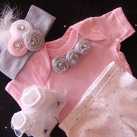 Newborn BABY girl outfit set layette Onesuit pants beanie hat sock rhinestone pink and grey