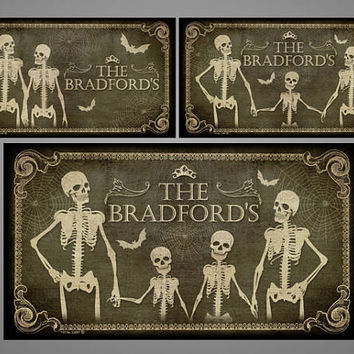 Skeletons door sign with a custom family name,door sign,family sign,gothic,art,skull,skeleton,bat,digital print,housewarming