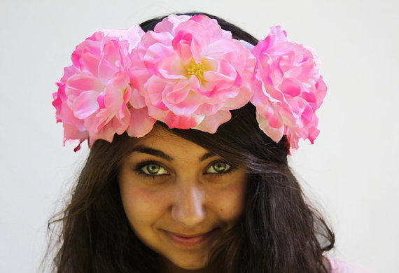 Pink Rose Flower Crown Burning Man Neon From Bloom Design Our