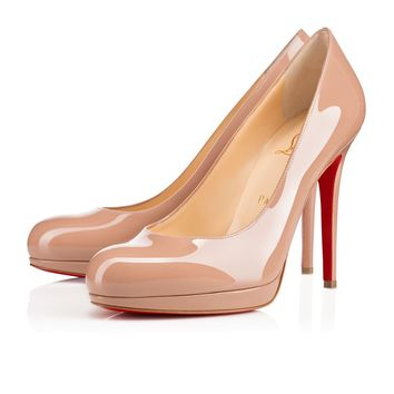 Best Online Sale Christian Louboutin Cl New Simple Pump Nude Patent Leather 120mm Stiletto Heel Classic