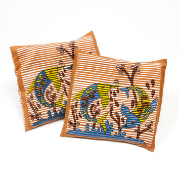 Set of Two Golden Brown Colored Cotton Cushion Covers (India)