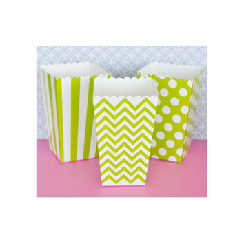 Popcorn Boxes - Green Chevron Polka Dot or Stripe for Candy Bar - Wedding Favors Party Favor