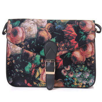 Women Retro Small Oil Flowers Painting Crossbody Bag