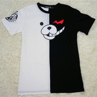 Loose Dangan Ronpa モノクマPrincipal Monokuma Black/White Bear T-shirt Top Free Ship SP140838 from SpreePicky