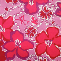 """lilly pulitzer's sorority lilac pink sigma kappa canvas cotton fabric squares (6"""" x 6"""" or 18"""" x 6"""")"""