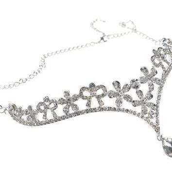 CREYV2S Head Chain Jewelry Wedding Tiara Headpieces with Pendant,Silver