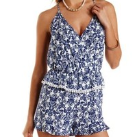 Navy Combo Floral Print Ruffle Peplum Romper by Charlotte Russe