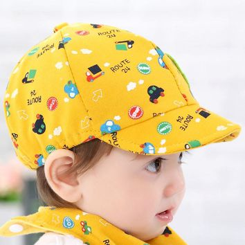 Free Shipping Yellow Color Baby Cotton Soft Hat Kid Boy Girl Toddler Infant Hat Little Car Baseball Beret Cap For 0-36 Months