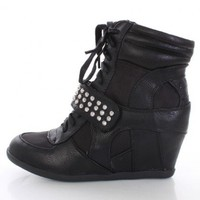 Black Faux Leather Lace Up Studded Strap High Top Sneaker Wedges @ Amiclubwear Wedges Shoes Store:Wedge Shoes,Wedge Boots,Wedge Heels,Wedge Sandals,Dress Shoes,Summer Shoes,Spring Shoes,Prom Shoes,Women's Wedge Shoes,Wedge Platforms Shoes,floral wedges,Fa