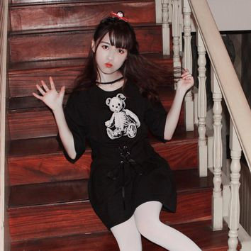 Skull Bear Black T-shirt Dress Bandage Waist Harajuku Kawaii Short Sleeves Women dresses For Girls Punk Street Style Black