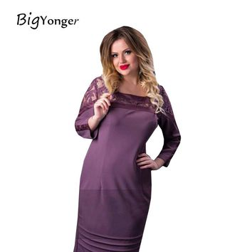 Sexy Three Quarter Sleeve Solid O-Neck Lace Plus Size Women's Dress