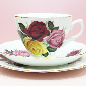 Tea Cup Trio, Teacup and Saucer, Tea Trio Set, Dorchester China, Rose Tea Cup, Flowers Pattern, Wedding China, Candle Making Supply - 1950s