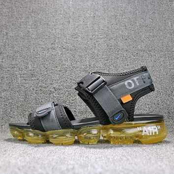 Off White x Nike Air VaporMax Sandals Black Yellow Slides 850588-002 Flip Flops