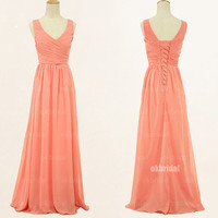 peach bridesmaid dresses, peach prom dresses, chiffon prom dresses, one shoulder prom dresses, sexy prom dresses, dresses for prom, RE436