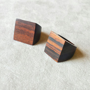 Wood Ring, square wooden ring, natural wooden ring, geometrical jewelry, minimalist ring, bohemian ring, boho ring, bohemian jewellery