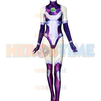 Cool 2018 New Style Starfire Teen Titans Spandex Printing Costume Superhero Cosplay Costume Custom MadeAT_93_12
