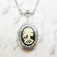 Silver Locket Necklace - Silver Lovely Bones Skull CAMEO LOCKET - Jewelry by BirdzNbeez - Wedding Birthday Bridesmaids Gift