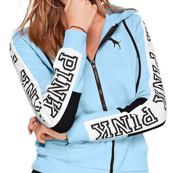 PEAPJ1A Victoria's Secret Pink Stylish Women Loose Print Stitching Color Zipper Hoodie Long Sleeved Sweater Coat Sky Blue I