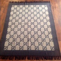 ONETOW Beautiful NEW Authentic Gucci Cashmere Wool Blanket Throw Brown Made in Italy