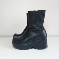 90s platform leather boots size 7.5