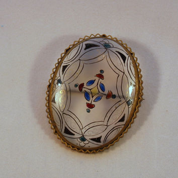 Victorian Hand Painted Glass Brooch Pin Stained Glass Look