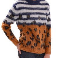 Striped Leopard Mohair Loose Sweater