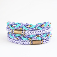 Lilac and mint wrap bracelet, lilac wrap bracelet, knit bracelet, ships worldwide from Europe