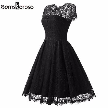 Bamskarosa Hot Sale Womens Summer Lace Dress 2017 Vintage O Neck Slim Sexy Pin up Rockabilly Vestidos Party Black Lace Dresses